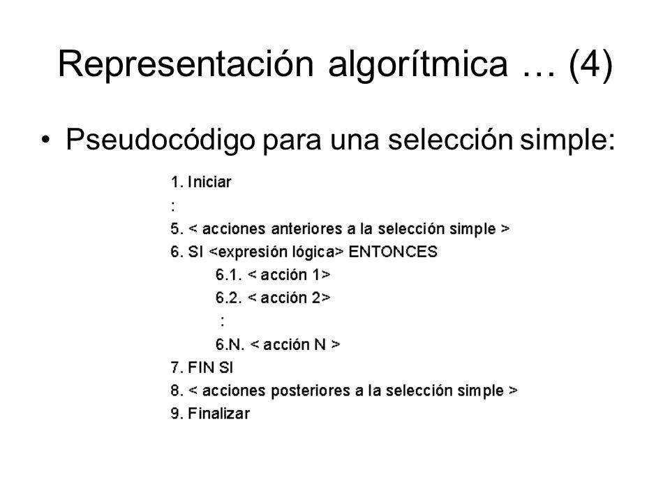 Representación algorítmica … (4) Pseudocódigo para una selección simple: