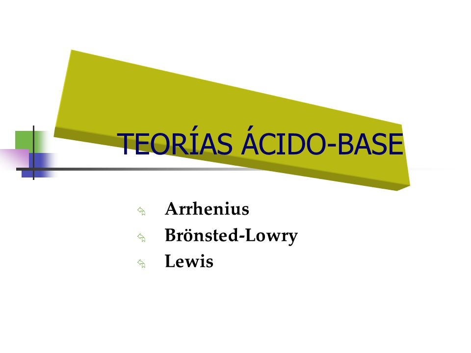 Arrhenius Ácido: Sustancia que en solución acuosa se disocia para producir iones hidrógeno (H + ) o iones hidronio (H 3 O + ) HCl Cl - + H + HNO 3 NO 3 - + H + Base: Sustancia que en solución acuosa se disocia para producir iones hidróxido (OH - ) NaOH Na + + OH - Ca(OH) 2 Ca 2 + + 2 OH - (1859-1927) Limitaciones: Sólo se considera comportamiento ácido-base en solución acuosa.