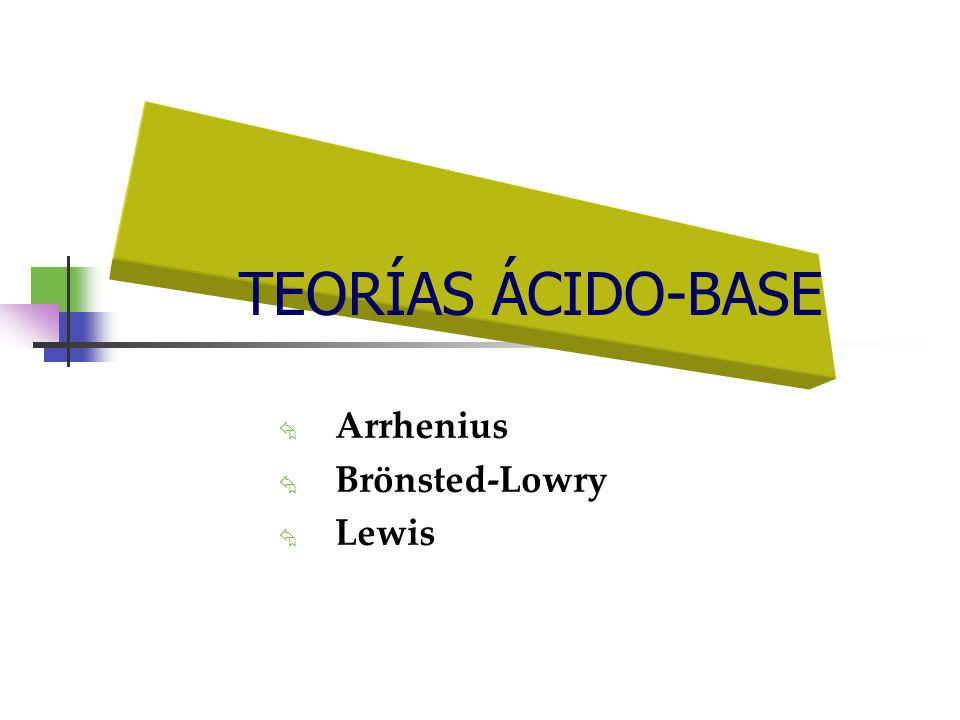 TEORÍAS ÁCIDO-BASE Arrhenius Brönsted-Lowry Lewis