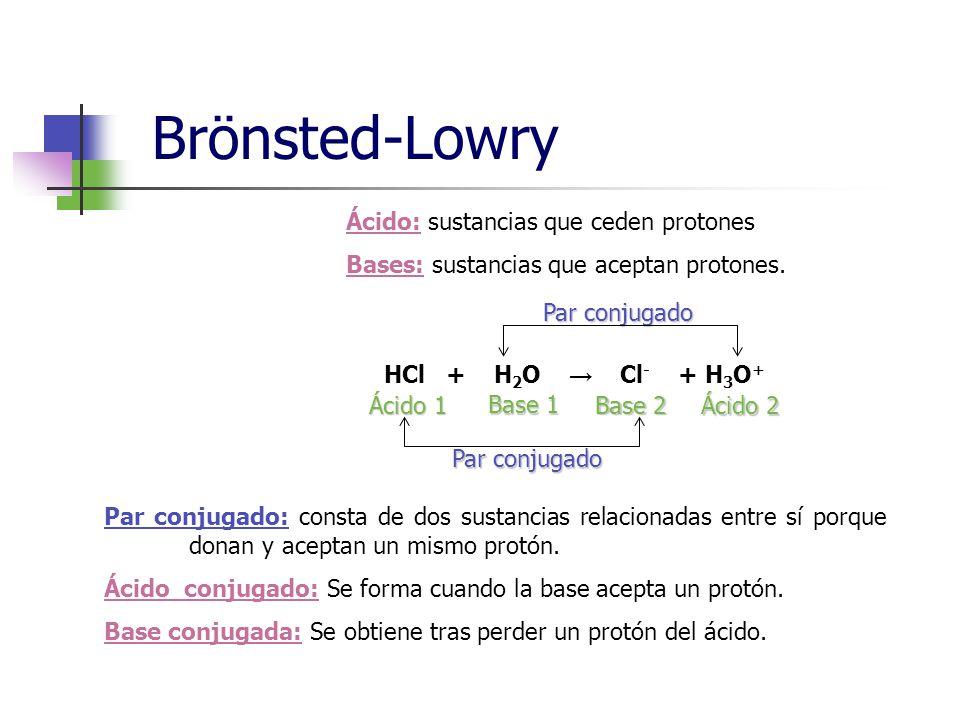 Brönsted-Lowry Ácido: sustancias que ceden protones Bases: sustancias que aceptan protones.