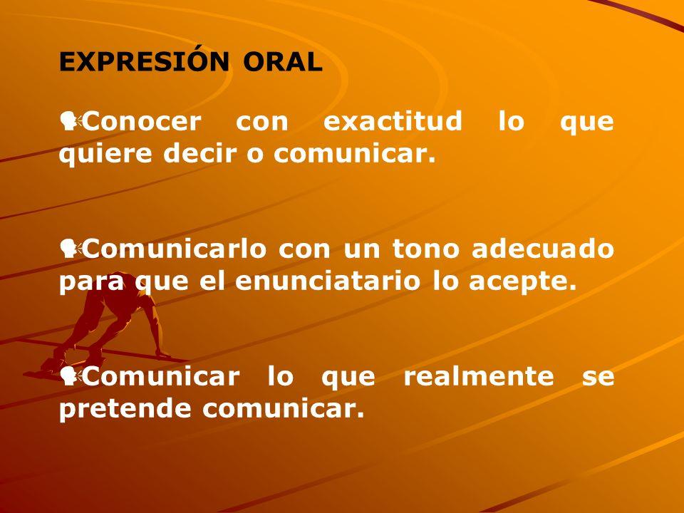 EXPRESIÓN ORAL Conocer con exactitud lo que quiere decir o comunicar. Comunicarlo con un tono adecuado para que el enunciatario lo acepte. Comunicar l