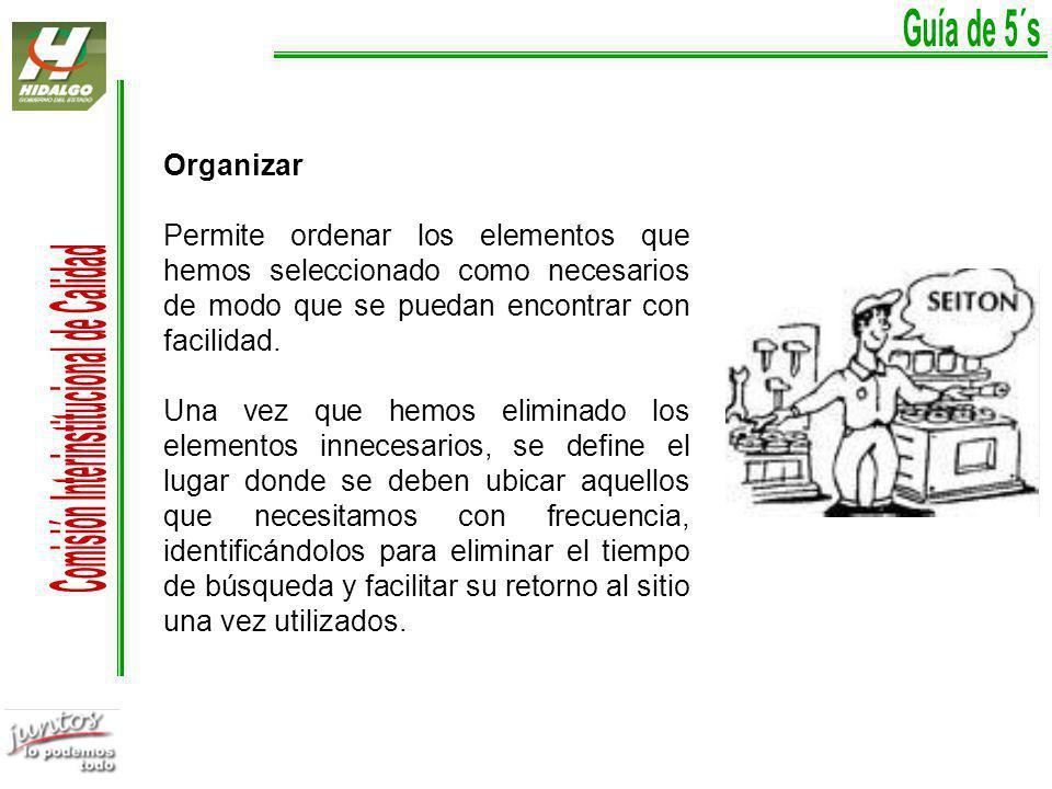 Organizar Permite ordenar los elementos que hemos seleccionado como necesarios de modo que se puedan encontrar con facilidad.