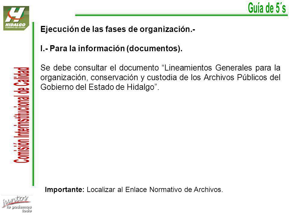 Ejecución de las fases de organización.- I.- Para la información (documentos).