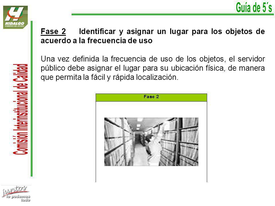 Fase 2 Identificar y asignar un lugar para los objetos de acuerdo a la frecuencia de uso Una vez definida la frecuencia de uso de los objetos, el servidor público debe asignar el lugar para su ubicación física, de manera que permita la fácil y rápida localización.