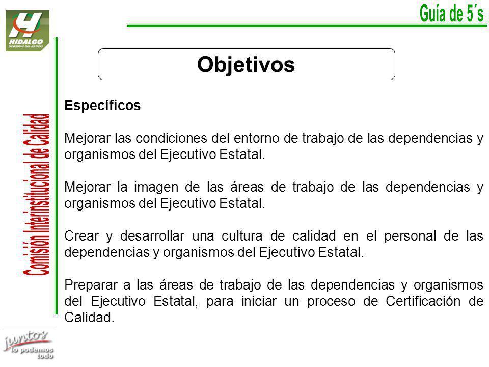 Objetivos Específicos Mejorar las condiciones del entorno de trabajo de las dependencias y organismos del Ejecutivo Estatal.
