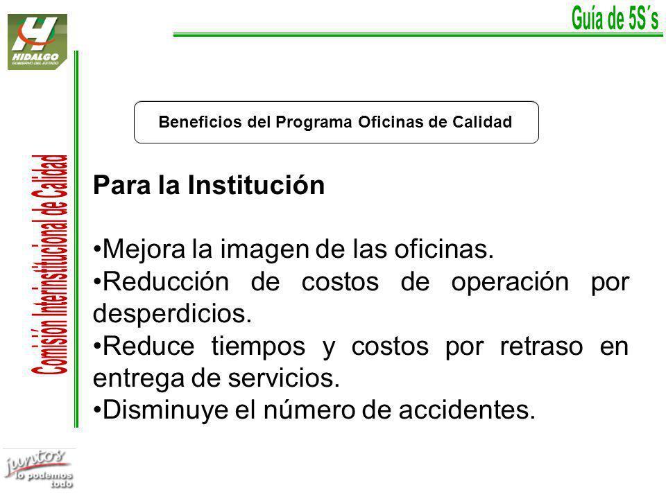 Beneficios del Programa Oficinas de Calidad Para el servidor público Reducción de accidentes.