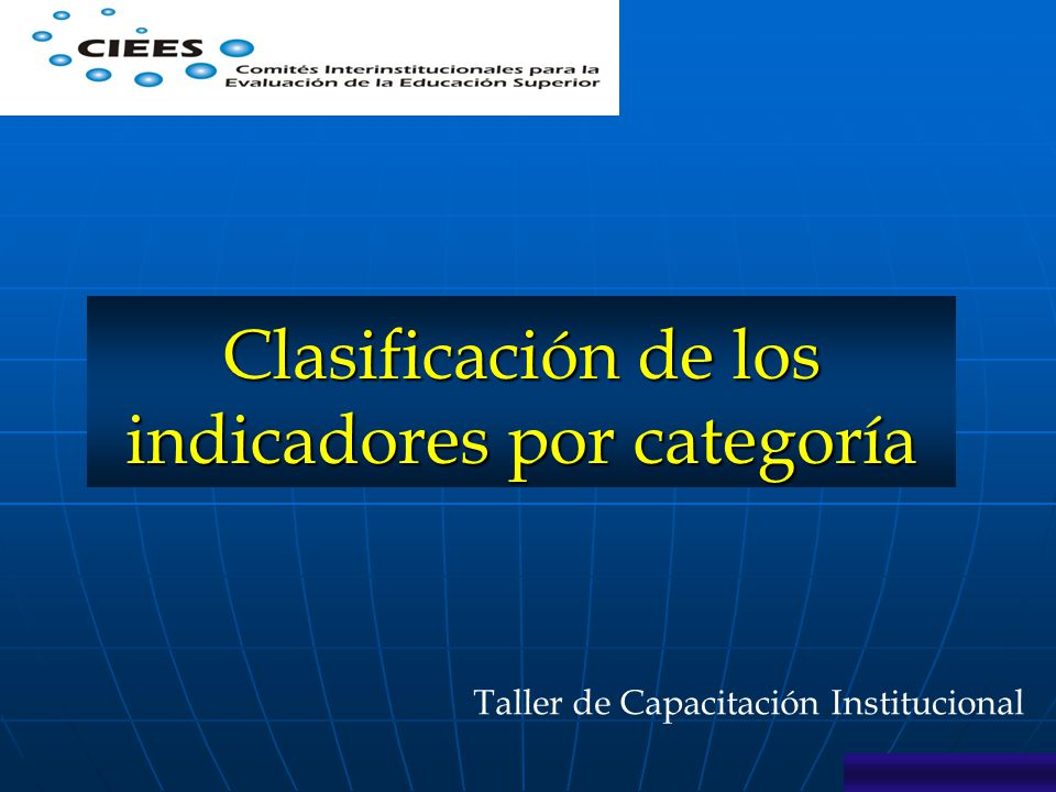 Taller de Capacitación Institucional Clasificación de los indicadores por categoría