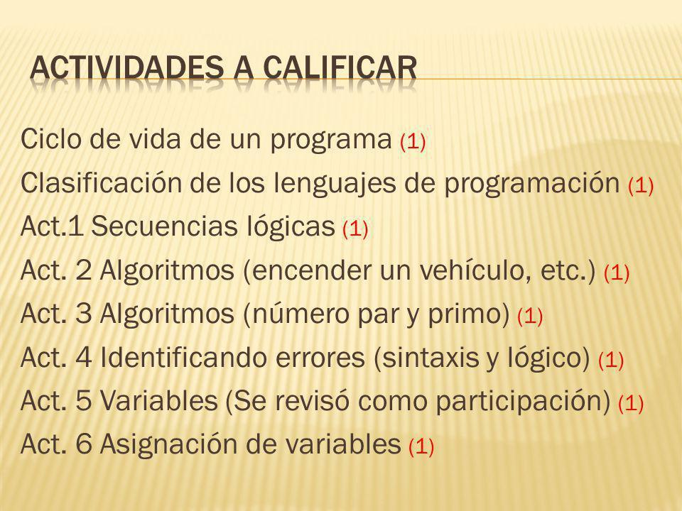 Ciclo de vida de un programa (1) Clasificación de los lenguajes de programación (1) Act.1 Secuencias lógicas (1) Act.