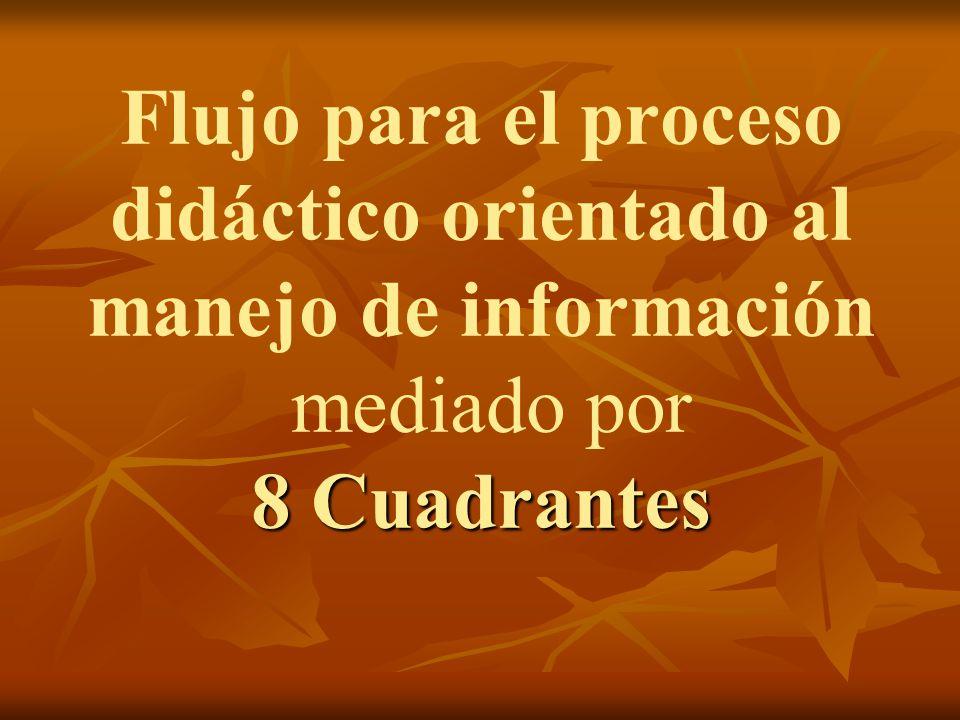 8 Cuadrantes Flujo para el proceso didáctico orientado al manejo de información mediado por 8 Cuadrantes