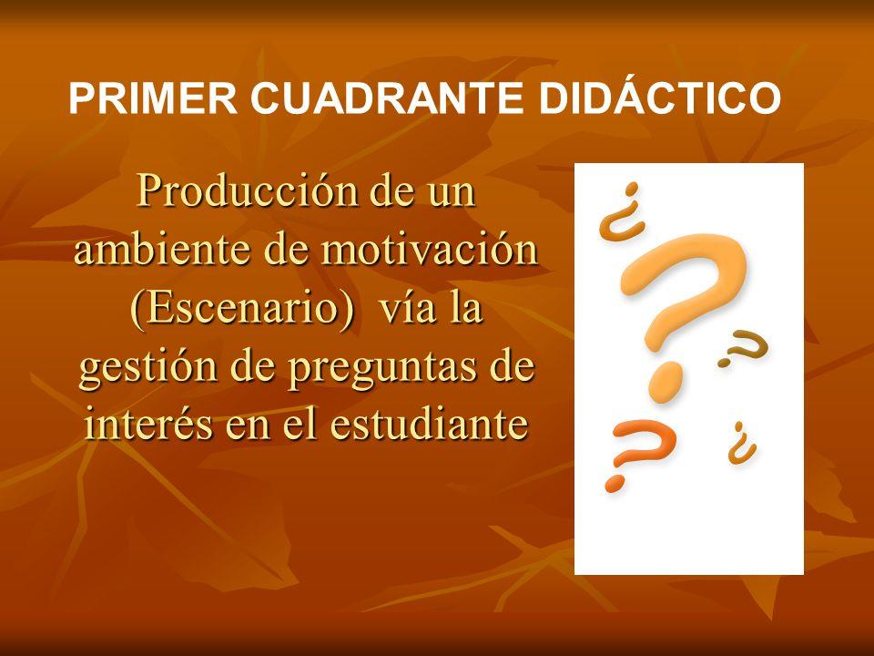 Producción de un ambiente de motivación (Escenario) vía la gestión de preguntas de interés en el estudiante PRIMER CUADRANTE DIDÁCTICO