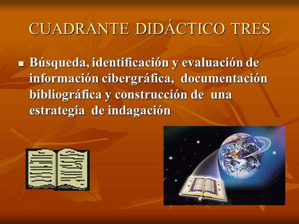 CUARTO CUADRANTE DIDÁCTICO Acceso a fuentes de información y documentación Acceso a fuentes de información y documentación Generación de arreglo de datos y referentes Generación de arreglo de datos y referentes