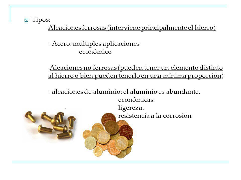 Tipos: Aleaciones ferrosas (interviene principalmente el hierro) - Acero: múltiples aplicaciones económico Aleaciones no ferrosas (pueden tener un elemento distinto al hierro o bien pueden tenerlo en una mínima proporción) - aleaciones de aluminio: el aluminio es abundante.