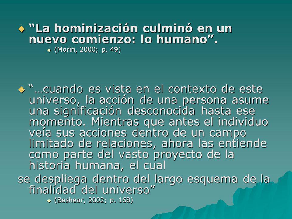 La hominización culminó en un nuevo comienzo: lo humano. La hominización culminó en un nuevo comienzo: lo humano. (Morin, 2000; p. 49) (Morin, 2000; p