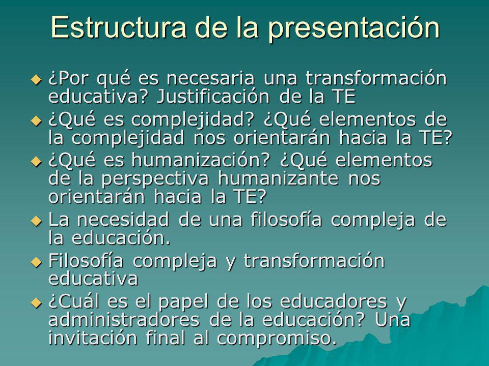 Estructura de la presentación ¿Por qué es necesaria una transformación educativa? Justificación de la TE ¿Por qué es necesaria una transformación educ