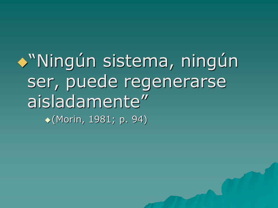 Ningún sistema, ningún ser, puede regenerarse aisladamente Ningún sistema, ningún ser, puede regenerarse aisladamente (Morin, 1981; p. 94) (Morin, 198