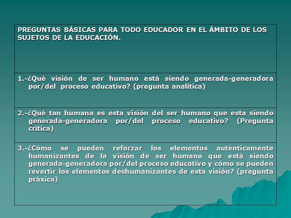 PREGUNTAS BÁSICAS PARA TODO EDUCADOR EN EL ÁMBITO DE LOS SUJETOS DE LA EDUCACIÓN. 1.-¿Qué visión de ser humano está siendo generada-generadora por/del