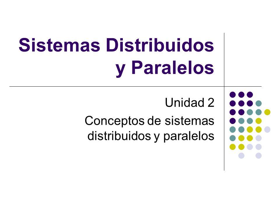 Sistemas Distribuidos y Paralelos Unidad 2 Conceptos de sistemas distribuidos y paralelos