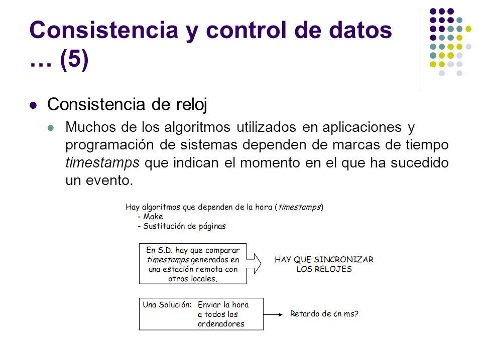 Consistencia y control de datos … (5) Consistencia de reloj Muchos de los algoritmos utilizados en aplicaciones y programación de sistemas dependen de