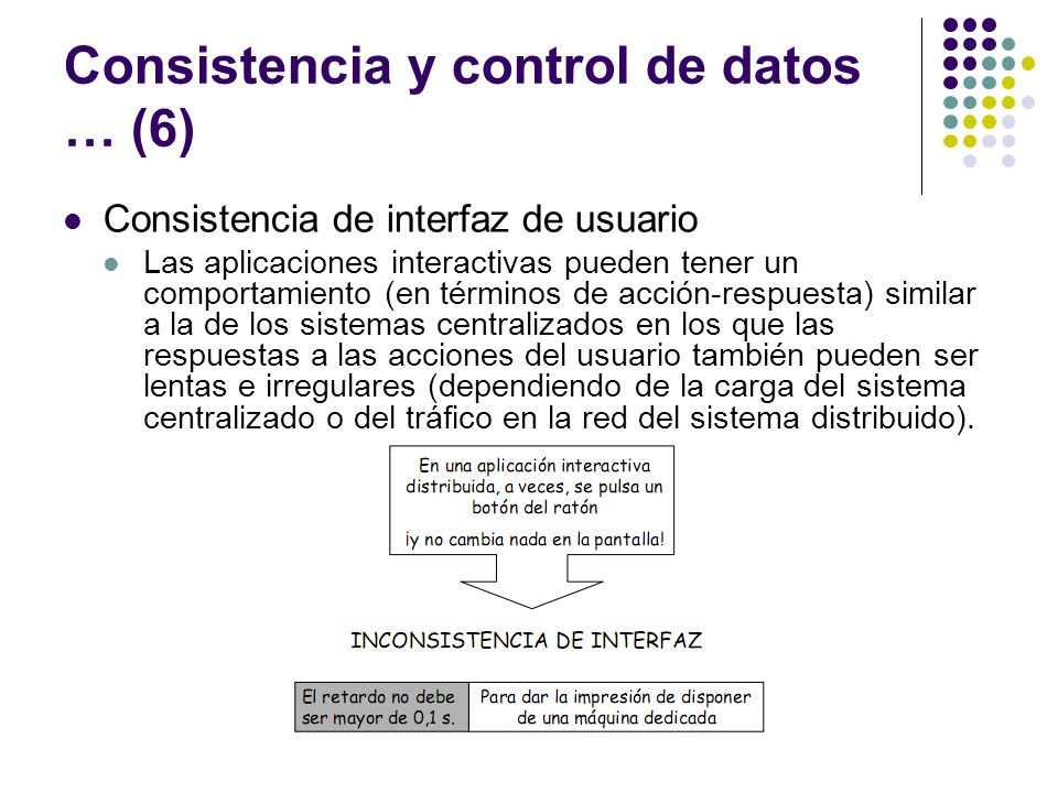 Consistencia y control de datos … (6) Consistencia de interfaz de usuario Las aplicaciones interactivas pueden tener un comportamiento (en términos de