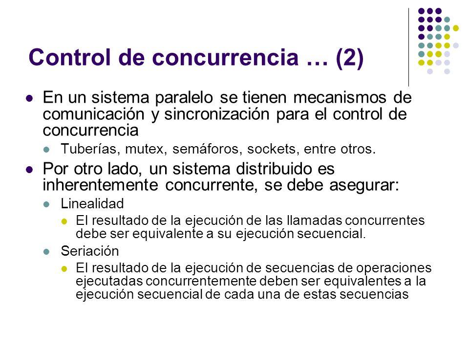 Control de concurrencia … (2) En un sistema paralelo se tienen mecanismos de comunicación y sincronización para el control de concurrencia Tuberías, m