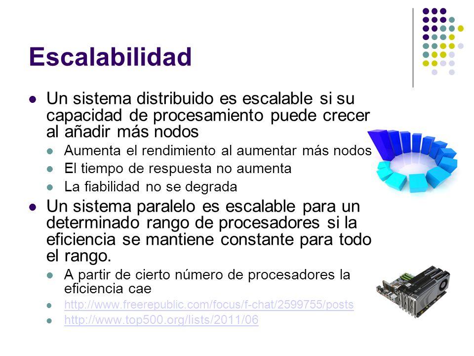 Escalabilidad Un sistema distribuido es escalable si su capacidad de procesamiento puede crecer al añadir más nodos Aumenta el rendimiento al aumentar