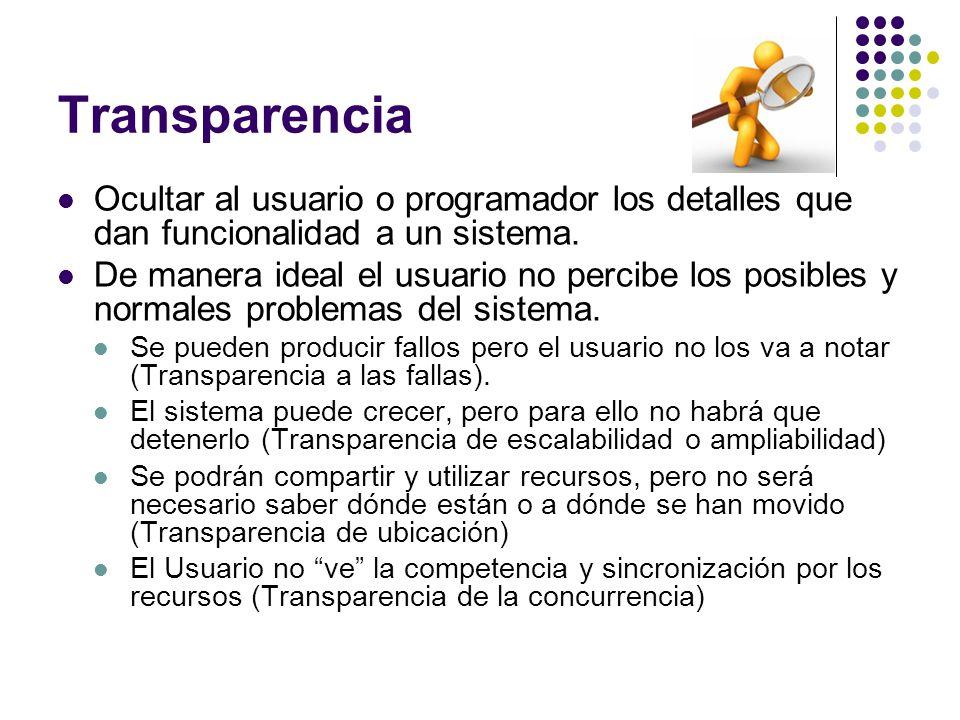 Transparencia Ocultar al usuario o programador los detalles que dan funcionalidad a un sistema. De manera ideal el usuario no percibe los posibles y n