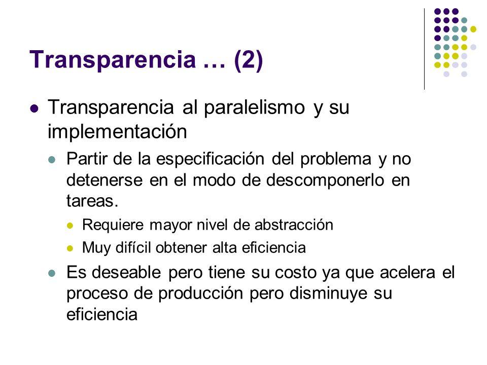 Transparencia … (2) Transparencia al paralelismo y su implementación Partir de la especificación del problema y no detenerse en el modo de descomponer