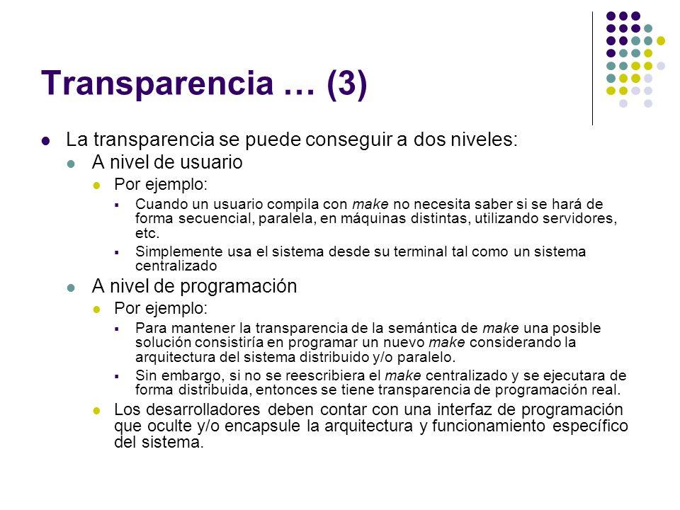 Transparencia … (3) La transparencia se puede conseguir a dos niveles: A nivel de usuario Por ejemplo: Cuando un usuario compila con make no necesita