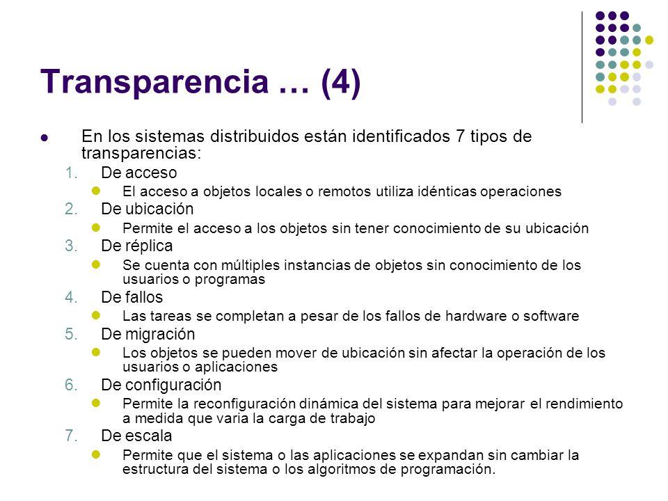 Transparencia … (4) En los sistemas distribuidos están identificados 7 tipos de transparencias: 1.De acceso El acceso a objetos locales o remotos util