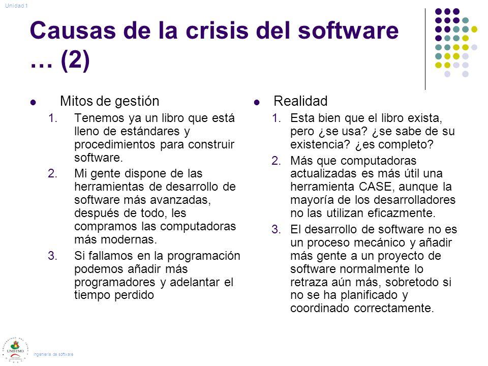 Causas de la crisis del software … (2) Mitos de gestión 1.Tenemos ya un libro que está lleno de estándares y procedimientos para construir software. 2