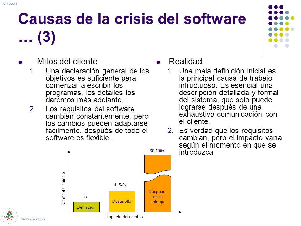 Causas de la crisis del software … (3) Mitos del cliente 1.Una declaración general de los objetivos es suficiente para comenzar a escribir los programas, los detalles los daremos más adelante.