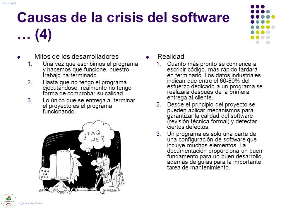 Causas de la crisis del software … (4) Mitos de los desarrolladores 1.Una vez que escribimos el programa y hacemos que funcione, nuestro trabajo ha terminado.