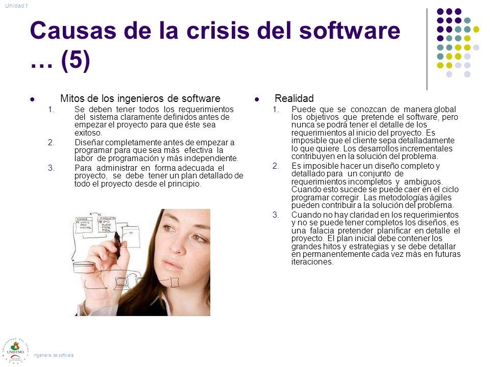 Causas de la crisis del software … (5) Mitos de los ingenieros de software 1.Se deben tener todos los requerimientos del sistema claramente definidos antes de empezar el proyecto para que éste sea exitoso.