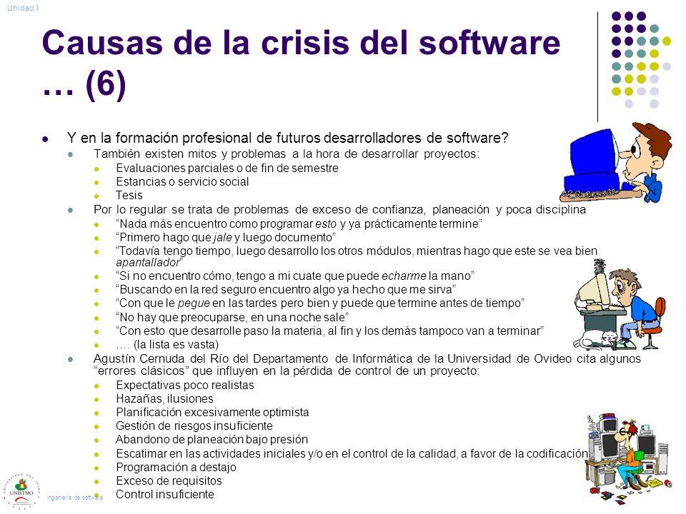 Causas de la crisis del software … (6) Y en la formación profesional de futuros desarrolladores de software? También existen mitos y problemas a la ho