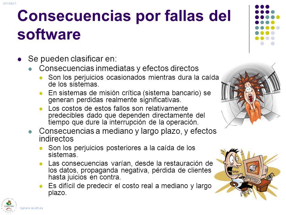 Consecuencias por fallas del software Se pueden clasificar en: Consecuencias inmediatas y efectos directos Son los perjuicios ocasionados mientras dura la caída de los sistemas.