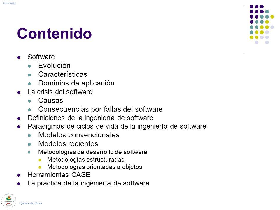 Contenido Software Evolución Características Dominios de aplicación La crisis del software Causas Consecuencias por fallas del software Definiciones d