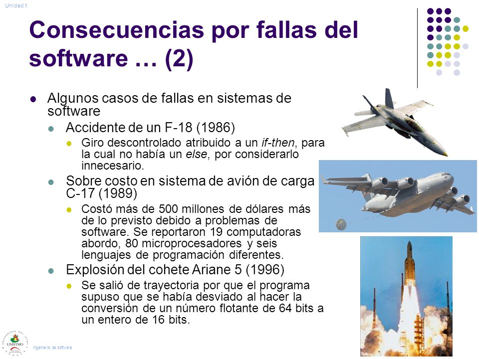 Consecuencias por fallas del software … (2) Algunos casos de fallas en sistemas de software Accidente de un F-18 (1986) Giro descontrolado atribuido a