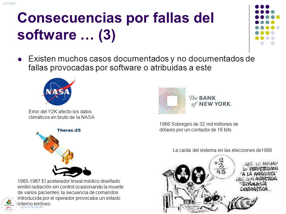 Consecuencias por fallas del software … (3) Existen muchos casos documentados y no documentados de fallas provocadas por software o atribuidas a este