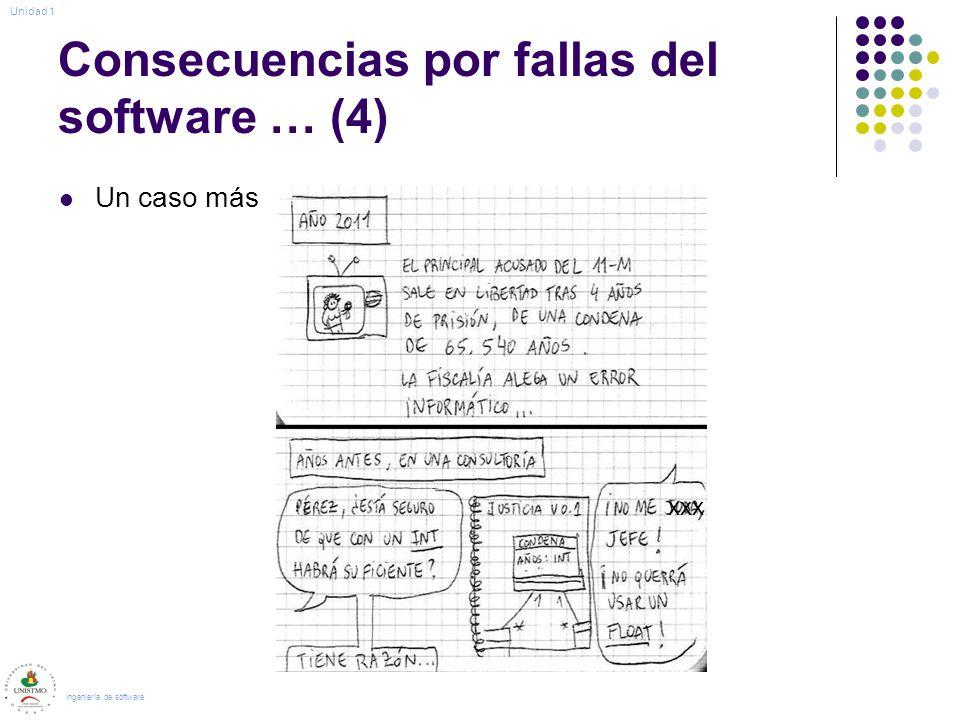 Consecuencias por fallas del software … (4) Un caso más Ingeniería de software Unidad 1 xxx