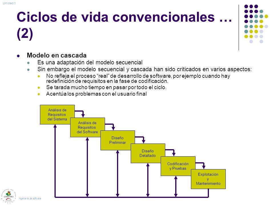 Ciclos de vida convencionales … (2) Modelo en cascada Es una adaptación del modelo secuencial Sin embargo el modelo secuencial y cascada han sido criticados en varios aspectos: No refleja el proceso real de desarrollo de software, por ejemplo cuando hay redefinición de requisitos en la fase de codificación.