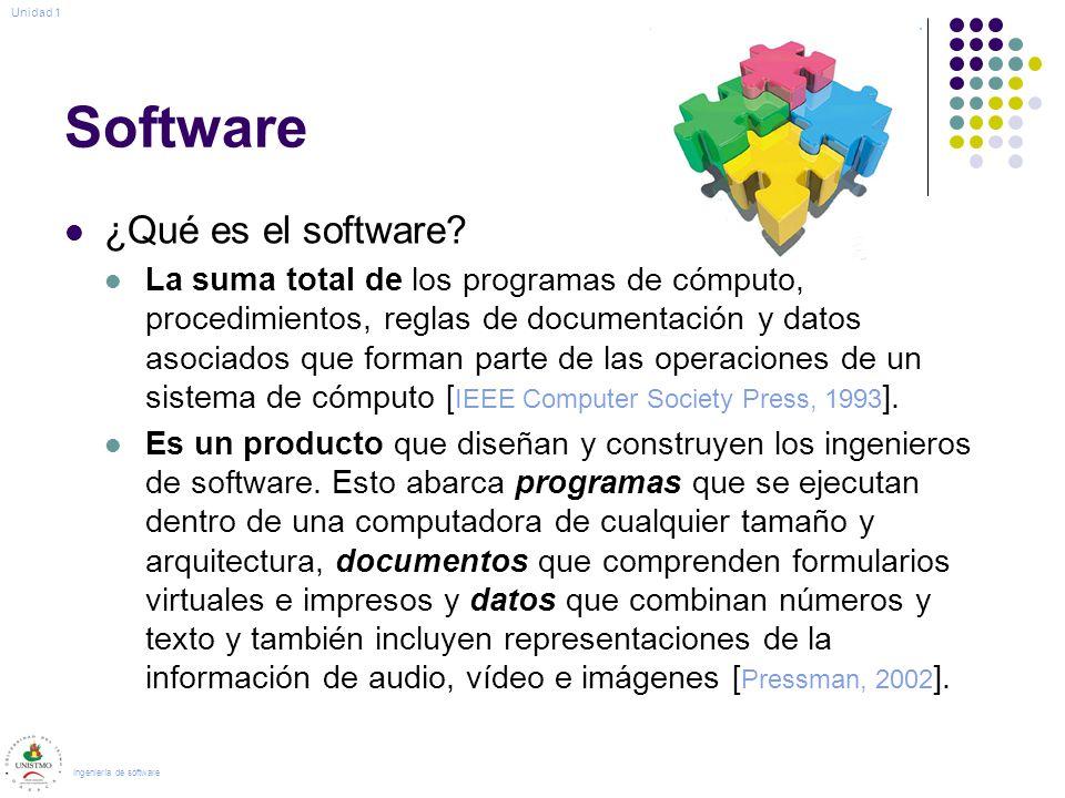 Software ¿Qué es el software? La suma total de los programas de cómputo, procedimientos, reglas de documentación y datos asociados que forman parte de