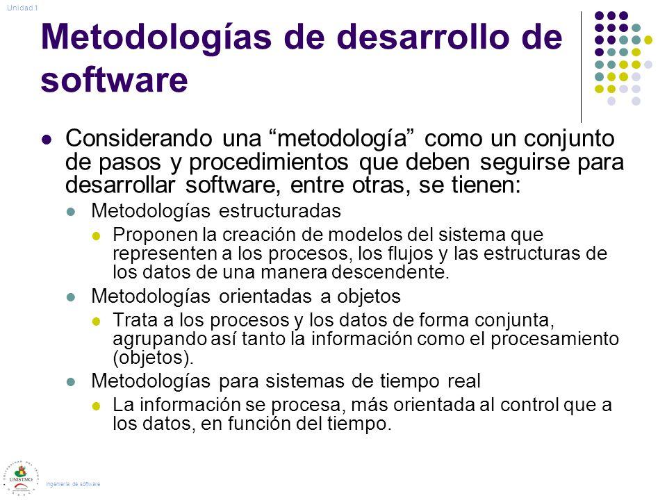 Metodologías de desarrollo de software Considerando una metodología como un conjunto de pasos y procedimientos que deben seguirse para desarrollar sof