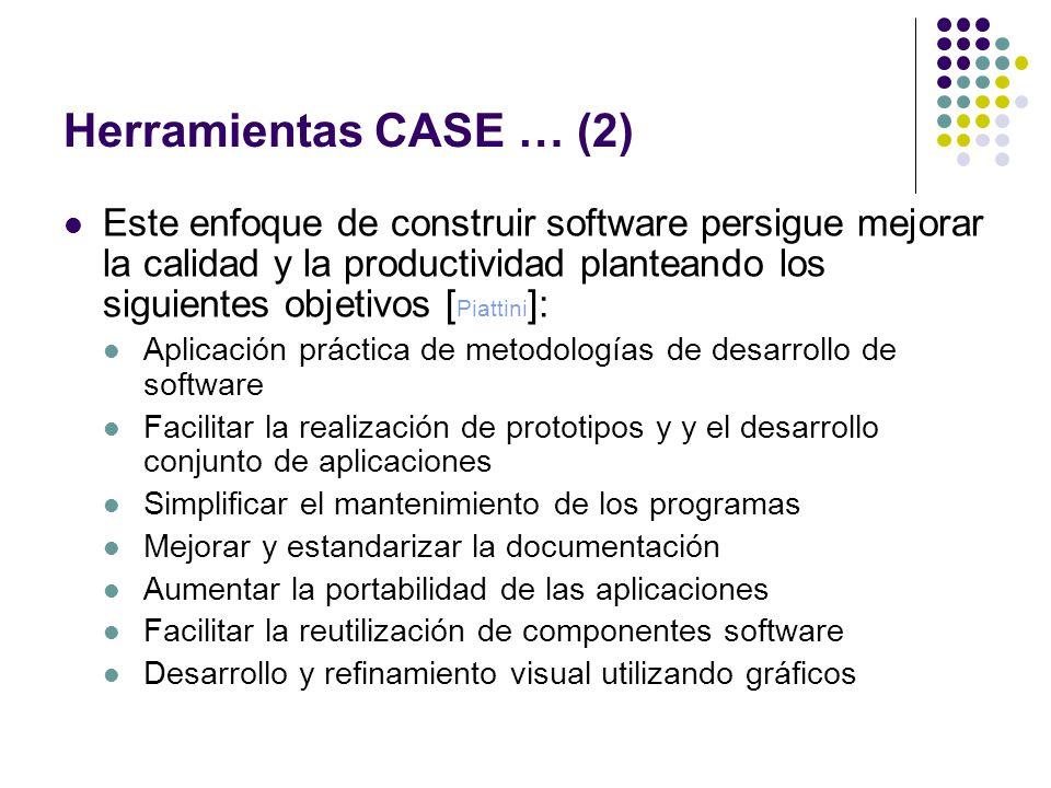 Herramientas CASE … (2) Este enfoque de construir software persigue mejorar la calidad y la productividad planteando los siguientes objetivos [ Piatti