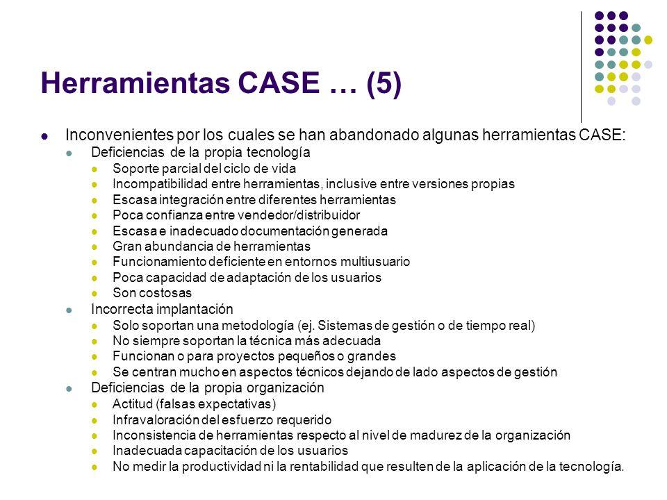 Herramientas CASE … (5) Inconvenientes por los cuales se han abandonado algunas herramientas CASE: Deficiencias de la propia tecnología Soporte parcia