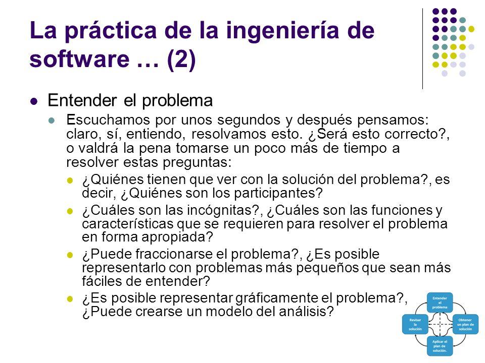 La práctica de la ingeniería de software … (2) Entender el problema Escuchamos por unos segundos y después pensamos: claro, sí, entiendo, resolvamos e