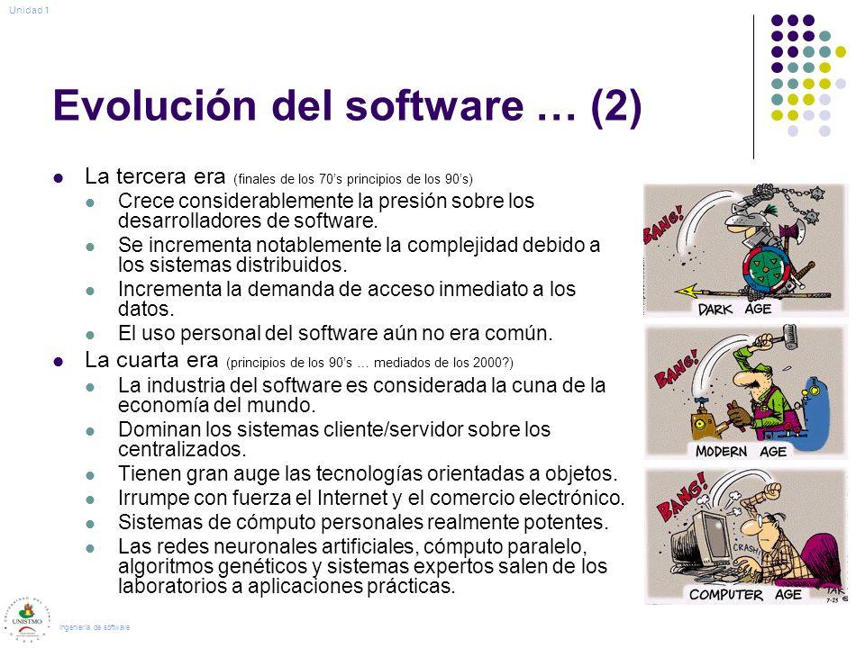 Evolución del software … (2) La tercera era (finales de los 70s principios de los 90s) Crece considerablemente la presión sobre los desarrolladores de software.