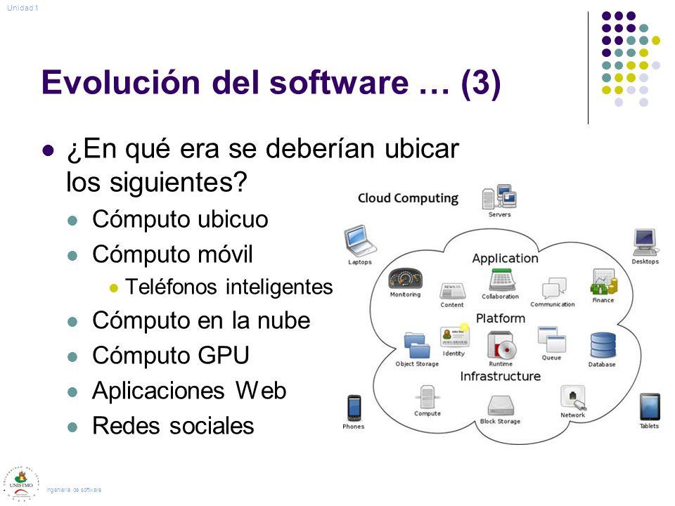 Evolución del software … (3) ¿En qué era se deberían ubicar los siguientes? Cómputo ubicuo Cómputo móvil Teléfonos inteligentes Cómputo en la nube Cóm