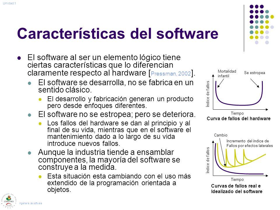 Características del software El software al ser un elemento lógico tiene ciertas características que lo diferencian claramente respecto al hardware [ Pressman, 2002 ].