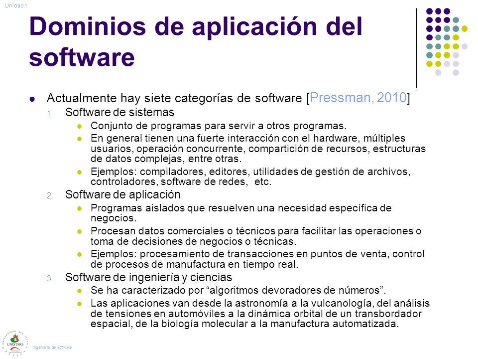 Dominios de aplicación del software Actualmente hay siete categorías de software [ Pressman, 2010 ] 1. Software de sistemas Conjunto de programas para