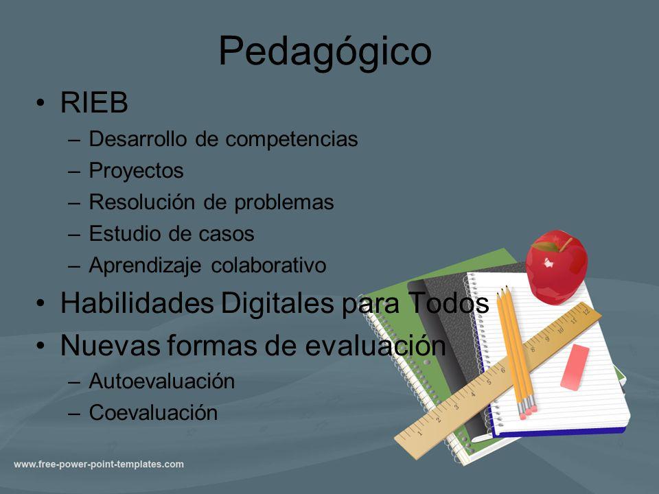 Pedagógico RIEB –Desarrollo de competencias –Proyectos –Resolución de problemas –Estudio de casos –Aprendizaje colaborativo Habilidades Digitales para